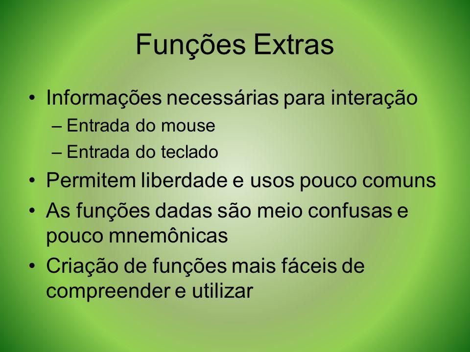 Funções Extras Informações necessárias para interação