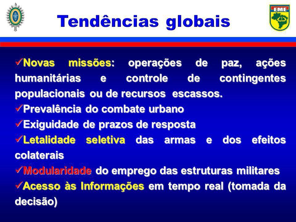 Tendências globais Novas missões: operações de paz, ações humanitárias e controle de contingentes populacionais ou de recursos escassos.