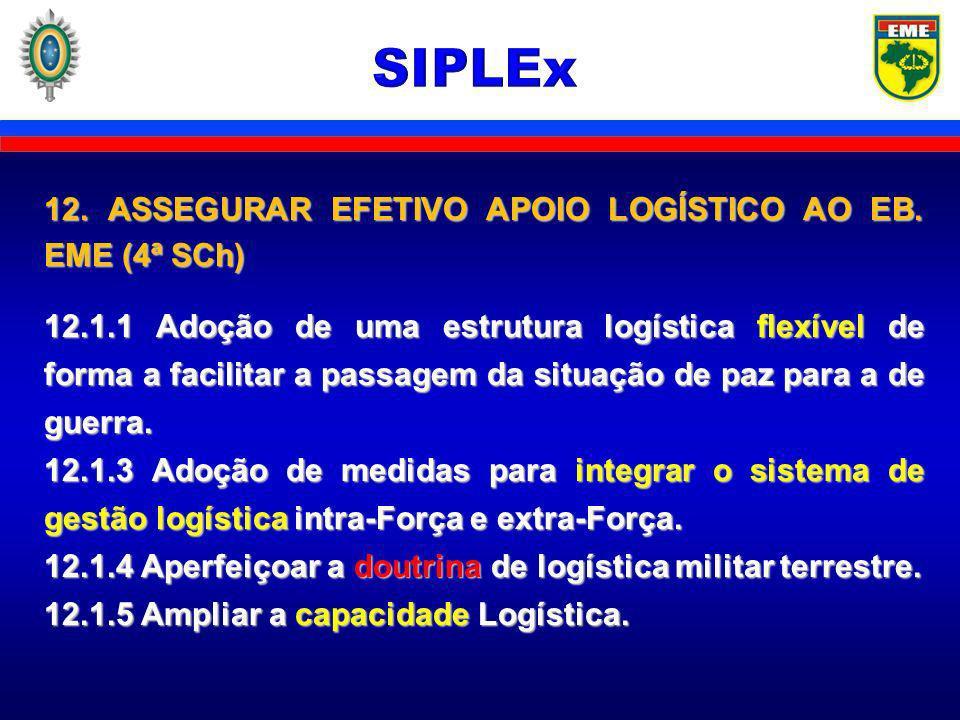 SIPLEx 12. ASSEGURAR EFETIVO APOIO LOGÍSTICO AO EB. EME (4ª SCh)