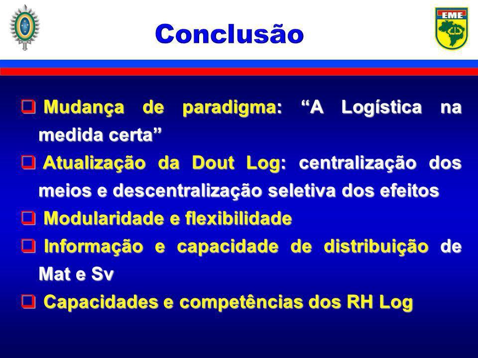 Conclusão Mudança de paradigma: A Logística na medida certa