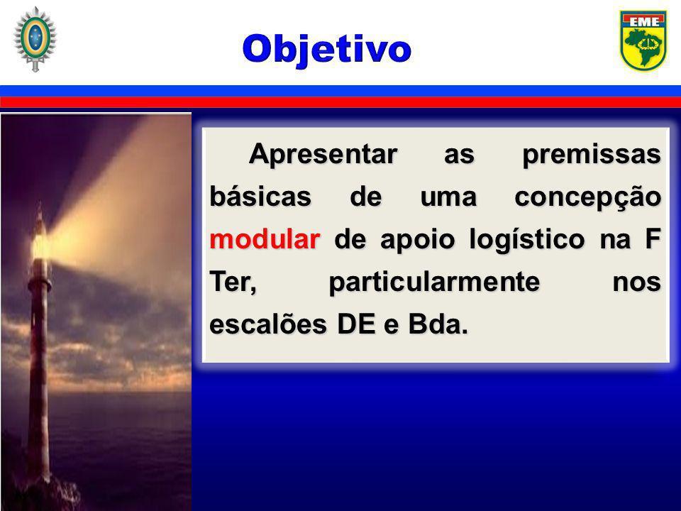 Objetivo Apresentar as premissas básicas de uma concepção modular de apoio logístico na F Ter, particularmente nos escalões DE e Bda.