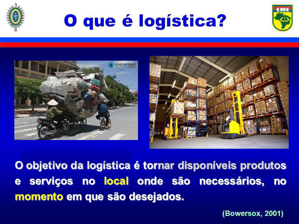 O que é logística O objetivo da logística é tornar disponíveis produtos e serviços no local onde são necessários, no momento em que são desejados.