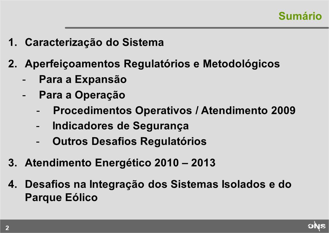 Sumário Caracterização do Sistema. Aperfeiçoamentos Regulatórios e Metodológicos. Para a Expansão.