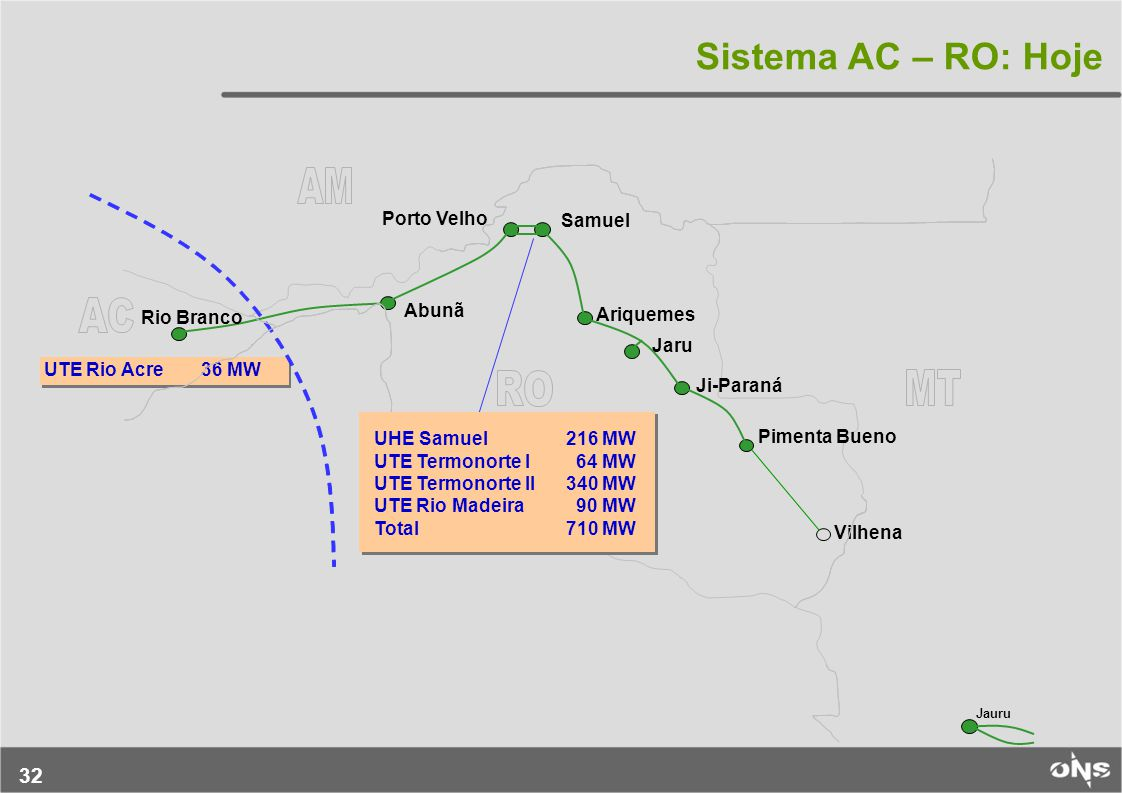 Sistema AC – RO: Hoje Porto Velho Samuel Abunã Rio Branco Ariquemes