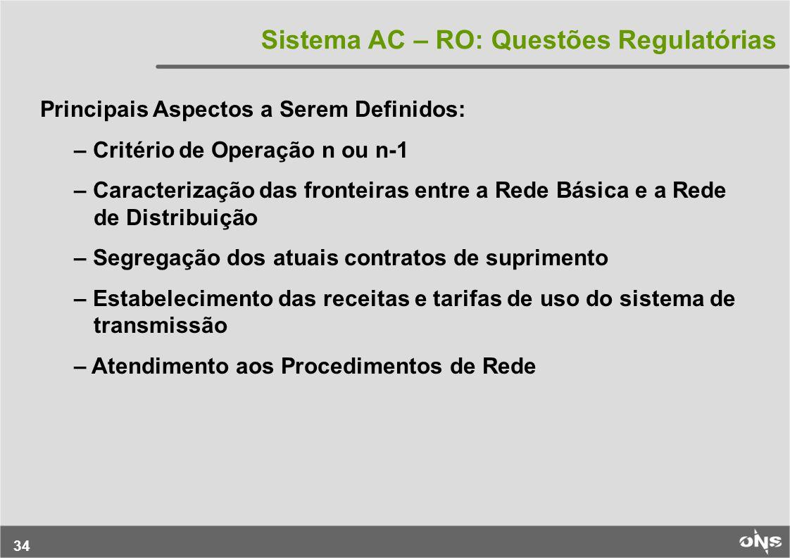 Sistema AC – RO: Questões Regulatórias