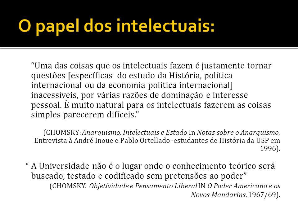 O papel dos intelectuais: