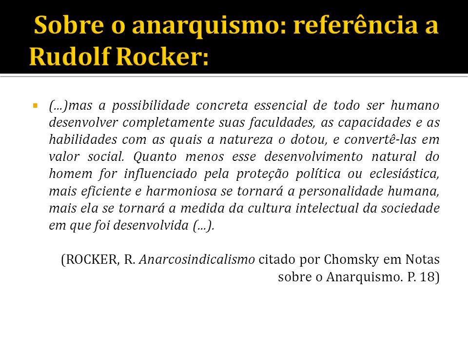 Sobre o anarquismo: referência a Rudolf Rocker: