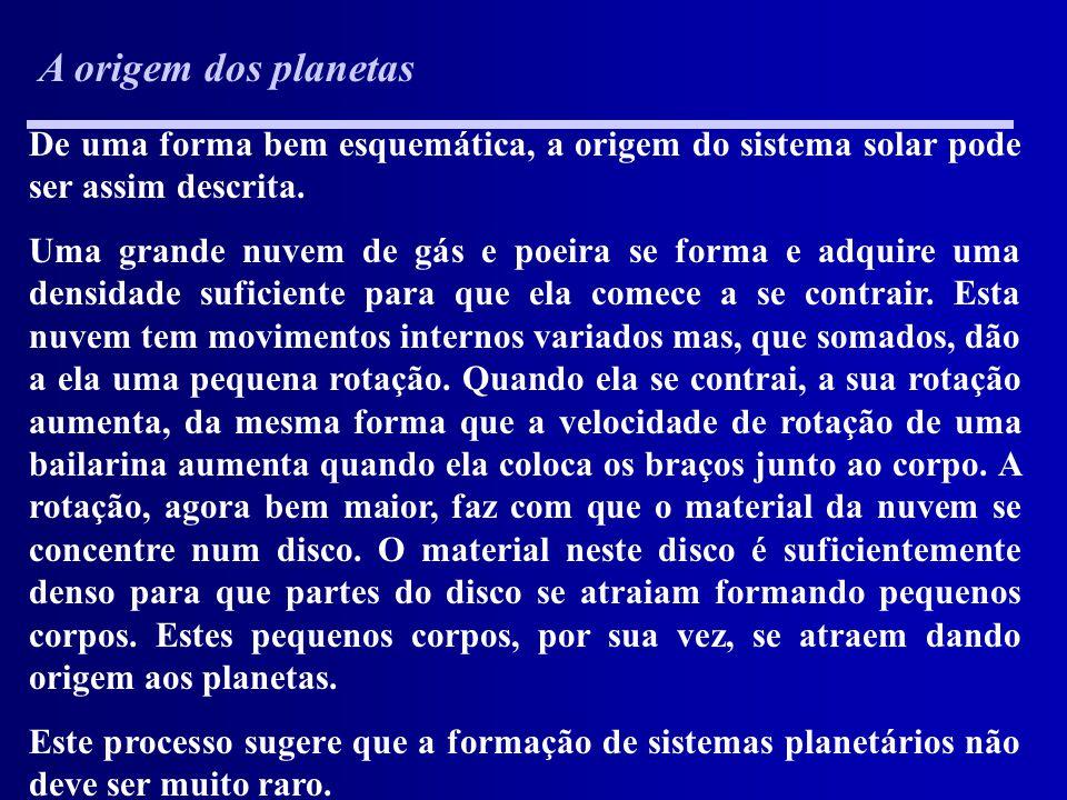 A origem dos planetas De uma forma bem esquemática, a origem do sistema solar pode ser assim descrita.