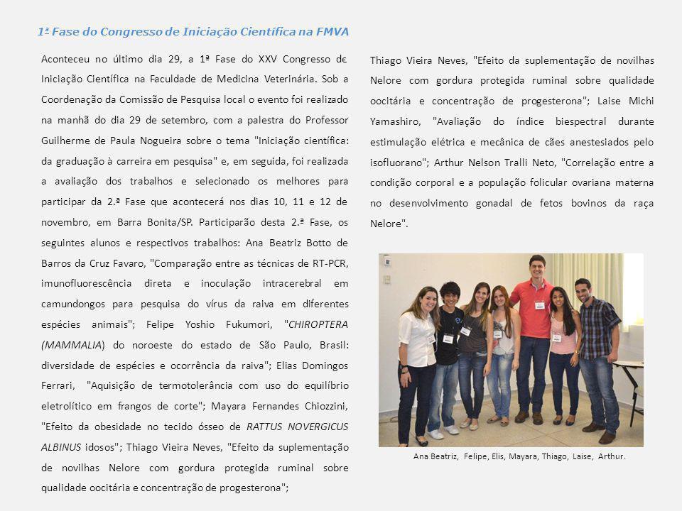 1ª Fase do Congresso de Iniciação Científica na FMVA