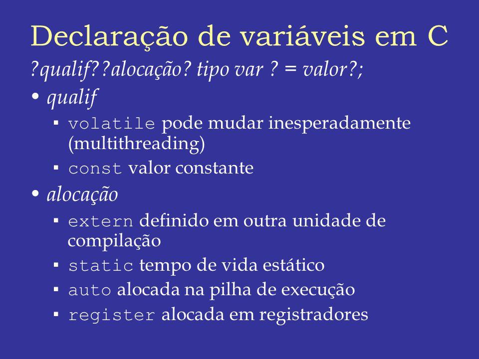 Declaração de variáveis em C