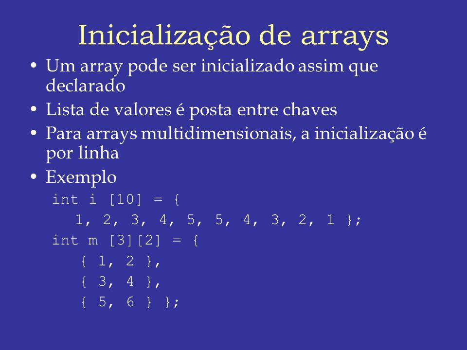 Inicialização de arrays