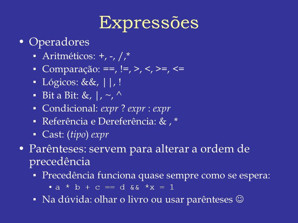 Expressões Operadores