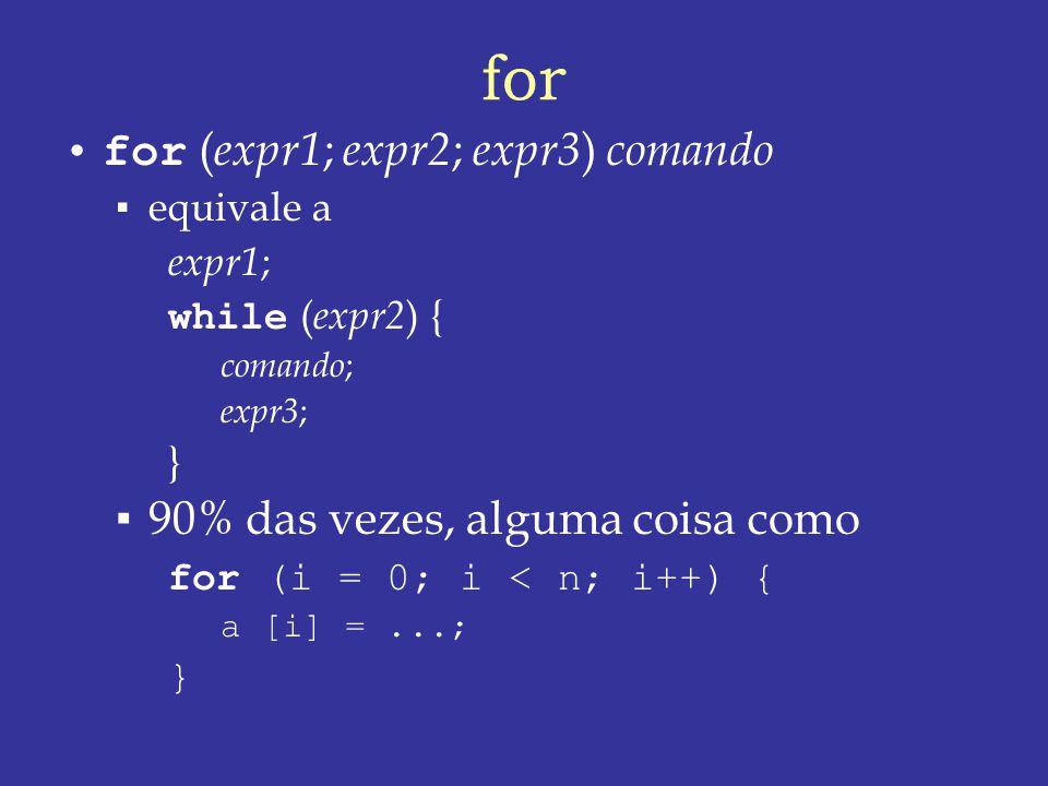 for for (expr1; expr2; expr3) comando 90% das vezes, alguma coisa como