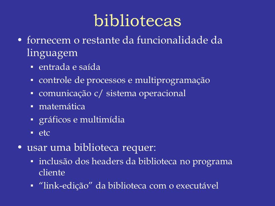 bibliotecas fornecem o restante da funcionalidade da linguagem