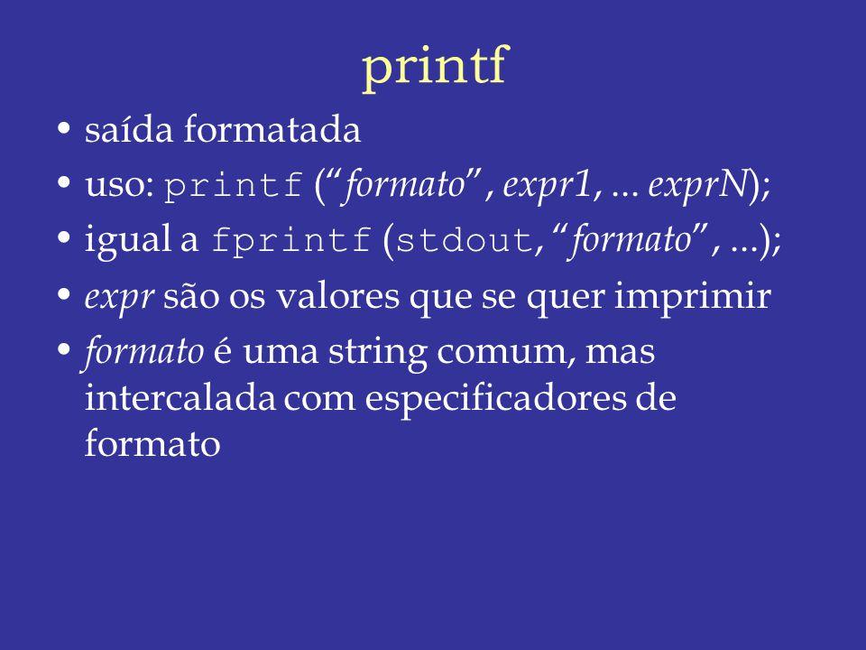 printf saída formatada uso: printf ( formato , expr1, ... exprN);
