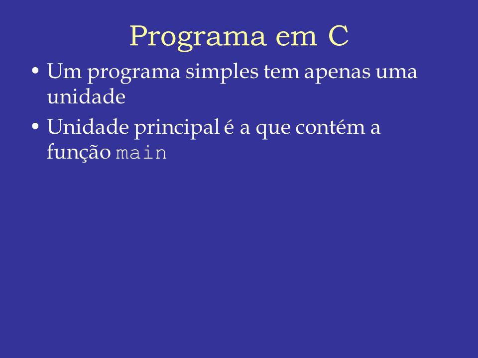 Programa em C Um programa simples tem apenas uma unidade