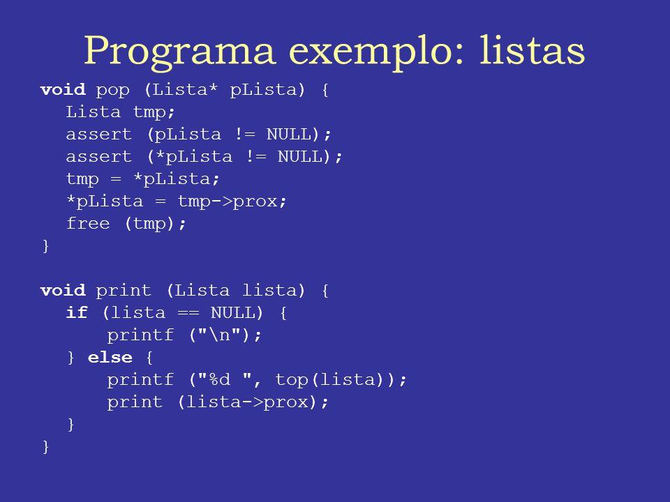 Programa exemplo: listas