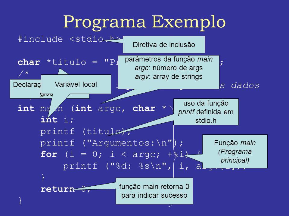 Programa Exemplo #include <stdio.h>