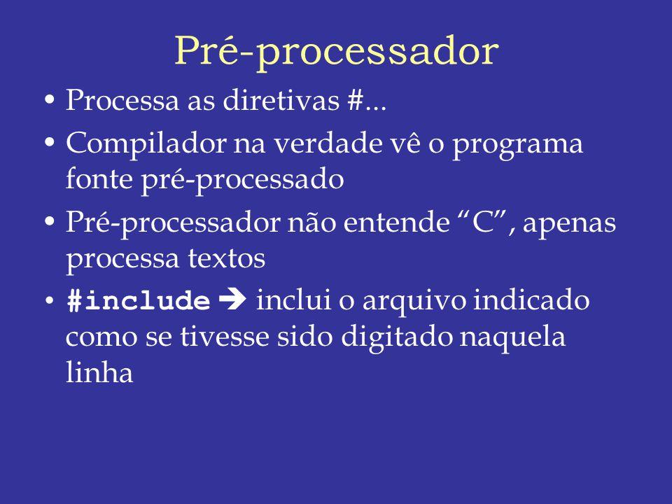Pré-processador Processa as diretivas #...