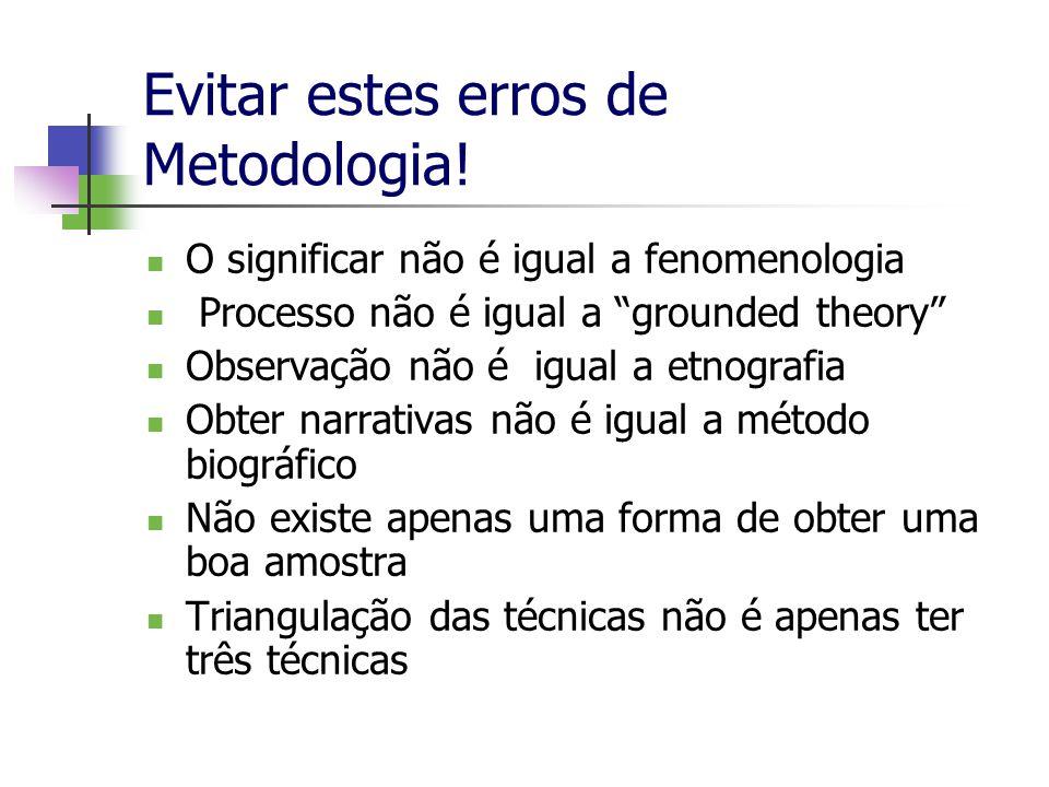 Evitar estes erros de Metodologia!