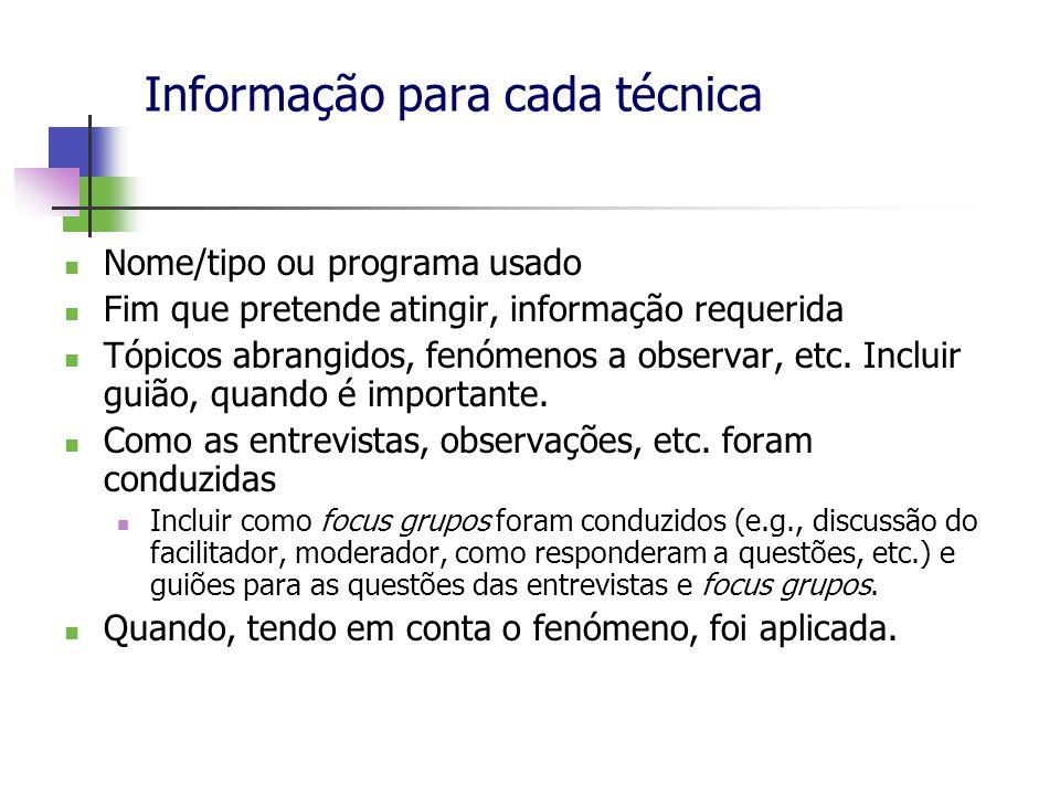 Informação para cada técnica