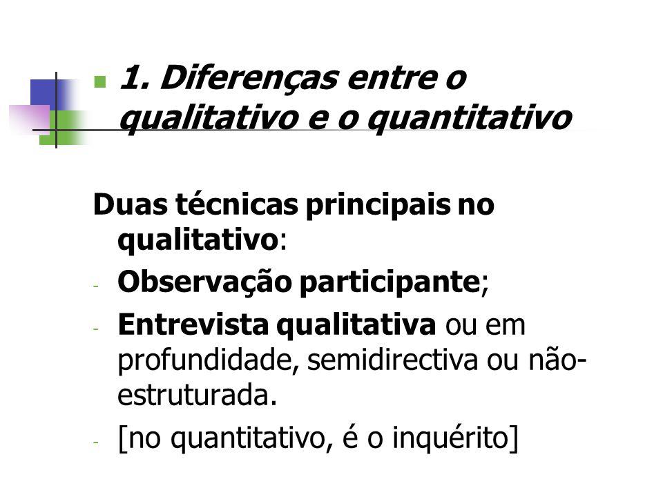 1. Diferenças entre o qualitativo e o quantitativo