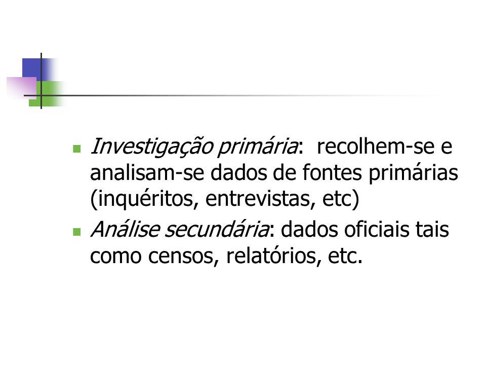 Investigação primária: recolhem-se e analisam-se dados de fontes primárias (inquéritos, entrevistas, etc)