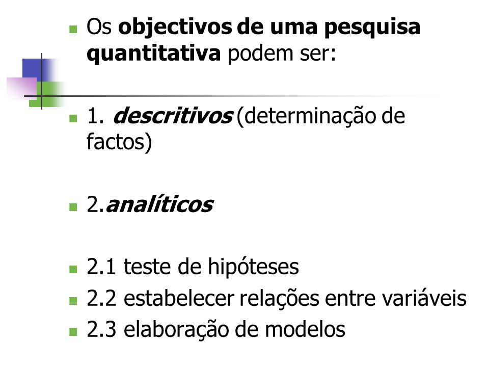 Os objectivos de uma pesquisa quantitativa podem ser: