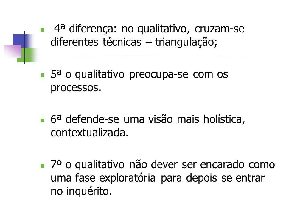 4ª diferença: no qualitativo, cruzam-se diferentes técnicas – triangulação;