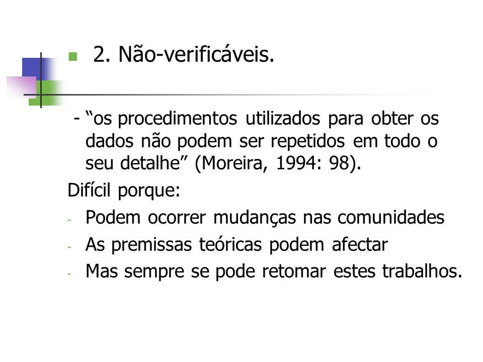 2. Não-verificáveis. - os procedimentos utilizados para obter os dados não podem ser repetidos em todo o seu detalhe (Moreira, 1994: 98).