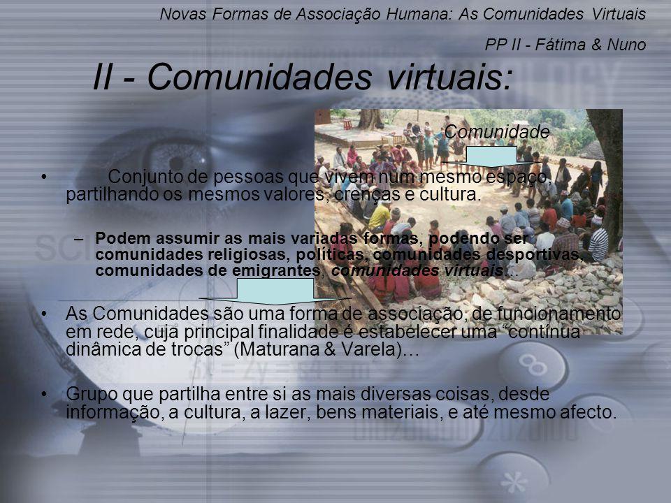 II - Comunidades virtuais: