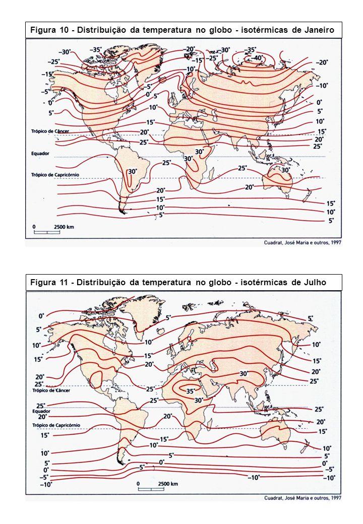 Figura 10 - Distribuição da temperatura no globo - isotérmicas de Janeiro