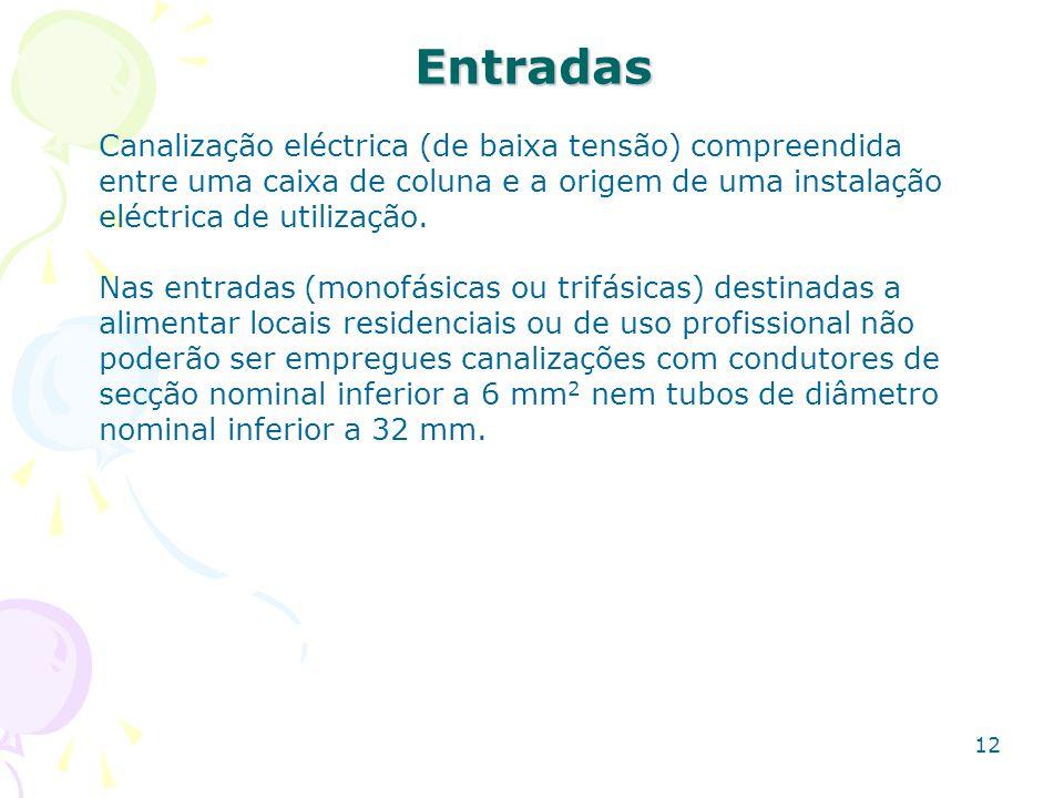 Entradas Canalização eléctrica (de baixa tensão) compreendida entre uma caixa de coluna e a origem de uma instalação.