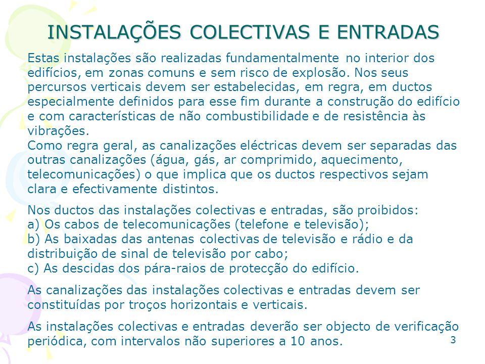 INSTALAÇÕES COLECTIVAS E ENTRADAS