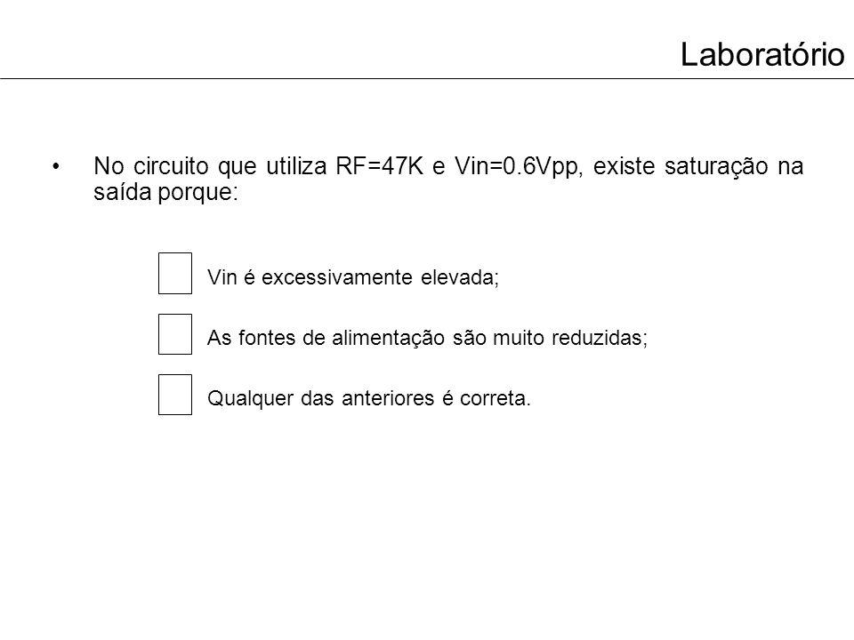 Laboratório No circuito que utiliza RF=47K e Vin=0.6Vpp, existe saturação na saída porque: Vin é excessivamente elevada;
