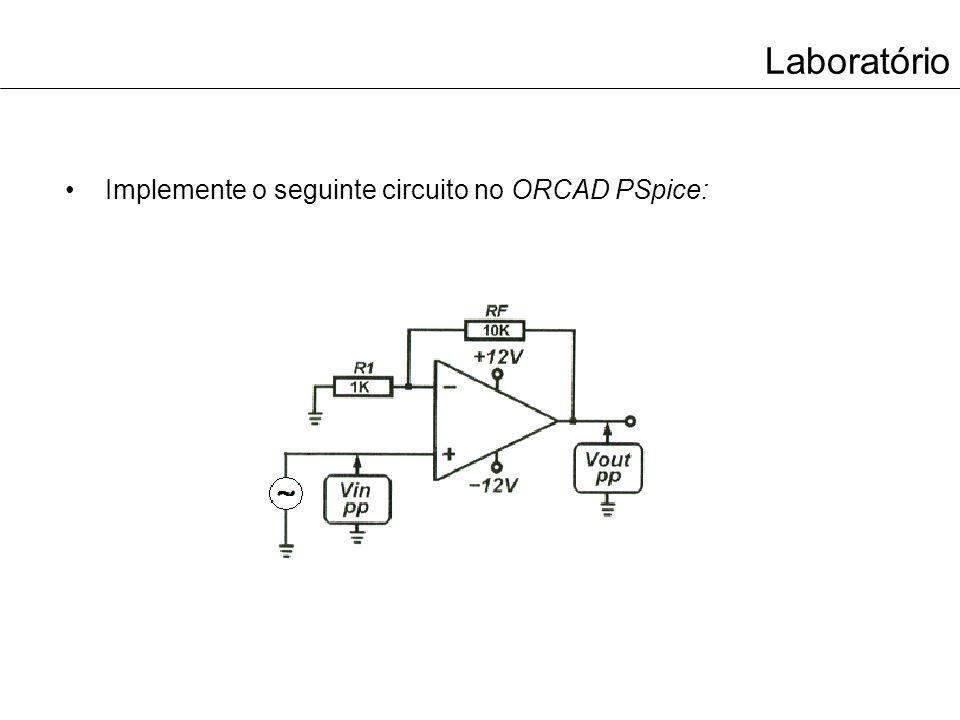 Laboratório Implemente o seguinte circuito no ORCAD PSpice: