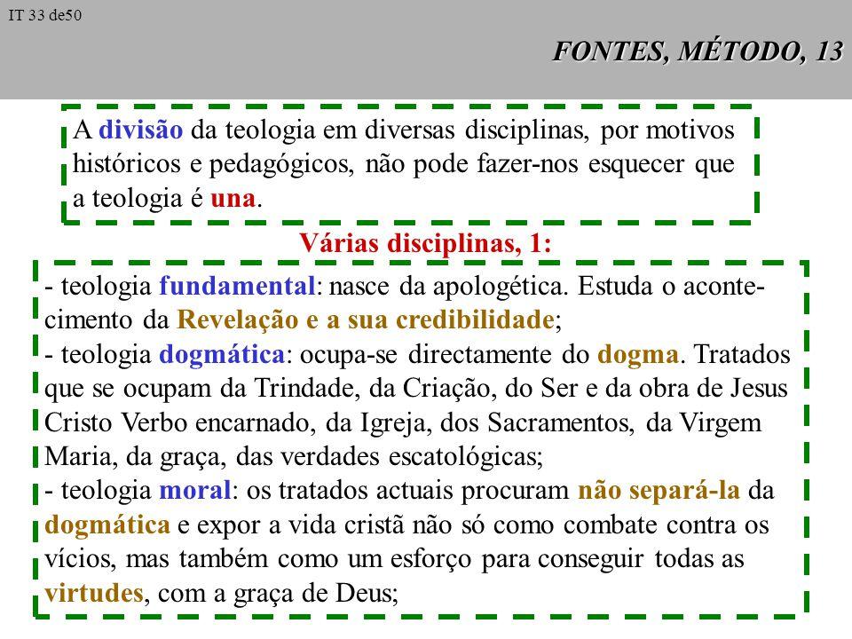 A divisão da teologia em diversas disciplinas, por motivos
