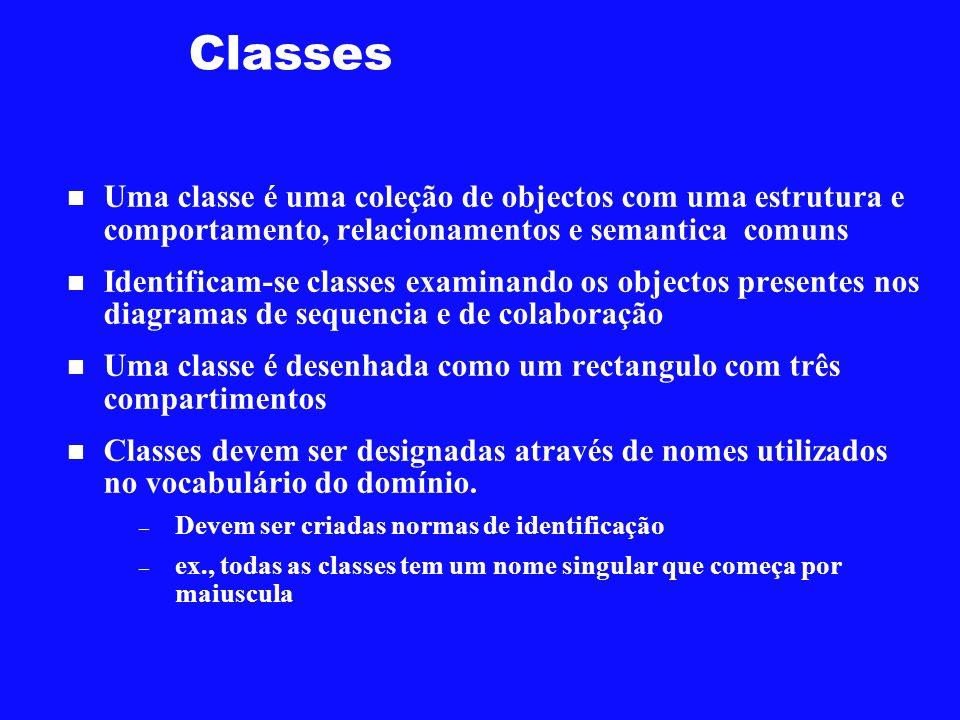 Classes Uma classe é uma coleção de objectos com uma estrutura e comportamento, relacionamentos e semantica comuns.