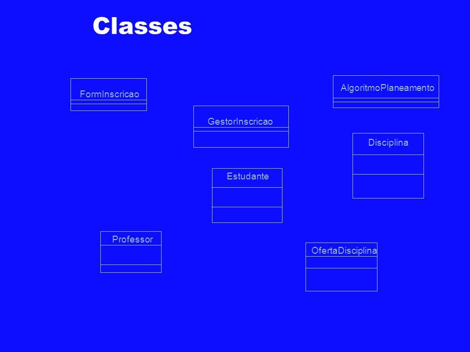 Classes AlgoritmoPlaneamento FormInscricao GestorInscricao Disciplina
