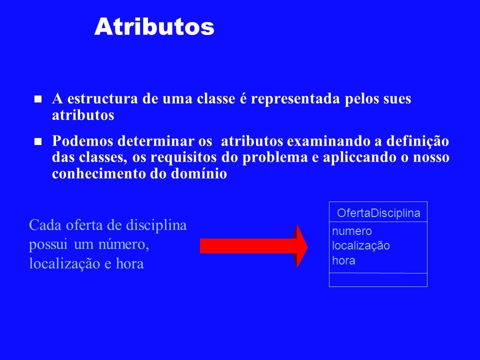 Atributos A estructura de uma classe é representada pelos sues atributos.