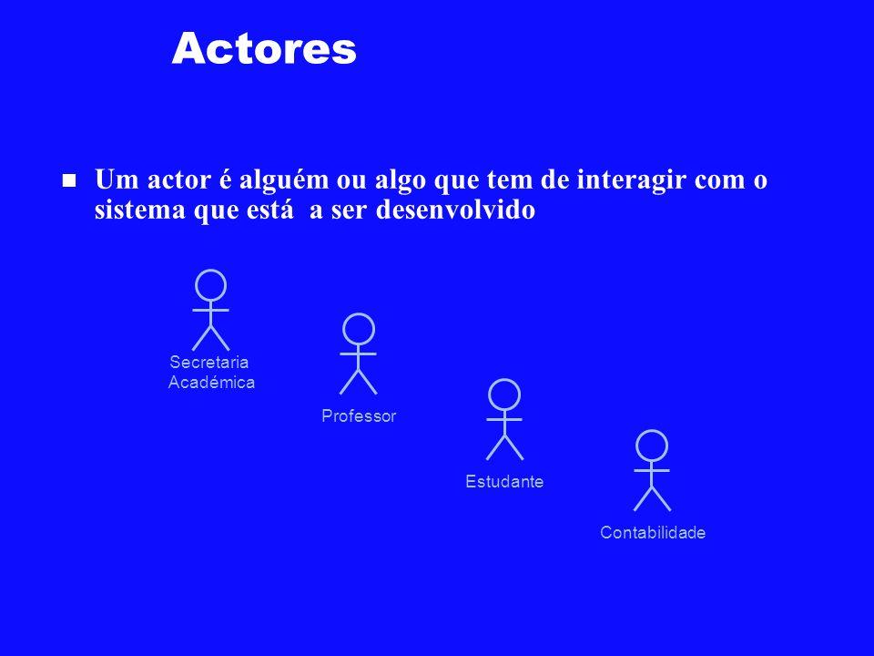 Actores Um actor é alguém ou algo que tem de interagir com o sistema que está a ser desenvolvido. Secretaria.