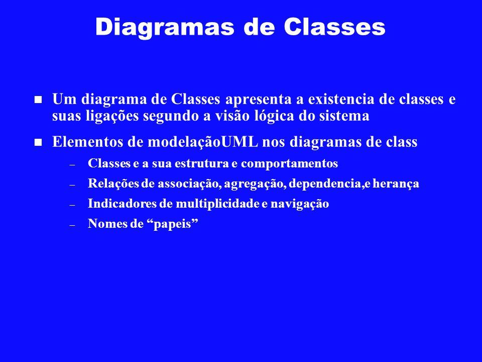 Diagramas de Classes Um diagrama de Classes apresenta a existencia de classes e suas ligações segundo a visão lógica do sistema.