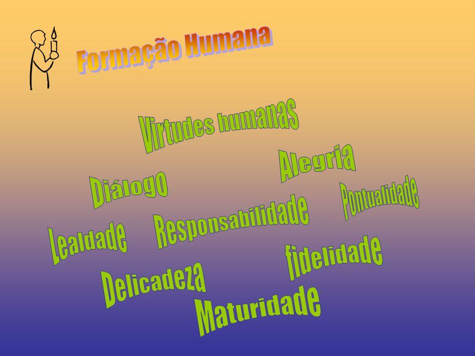 Formação Humana Virtudes humanas. Alegria. Diálogo. Pontualidade. Responsabilidade. Lealdade. fidelidade.