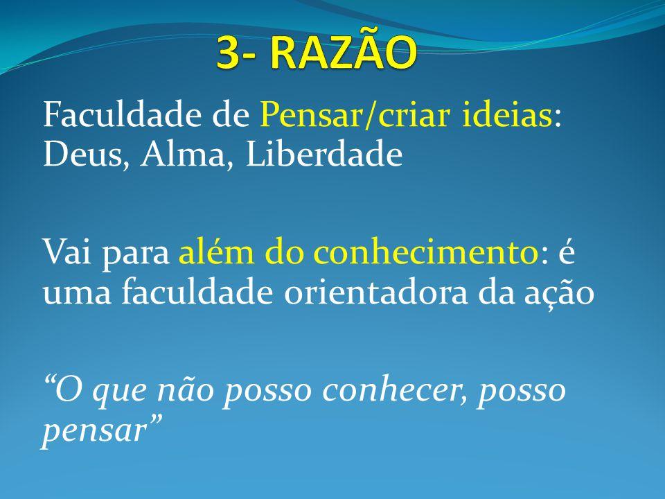 3- RAZÃO Faculdade de Pensar/criar ideias: Deus, Alma, Liberdade