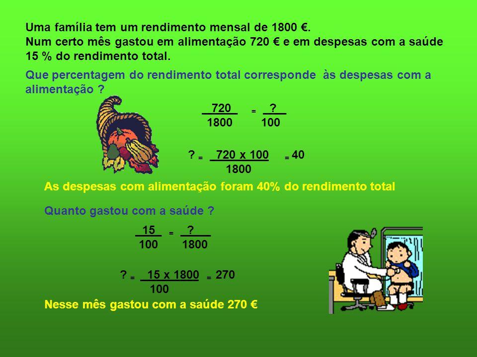 Uma família tem um rendimento mensal de 1800 €