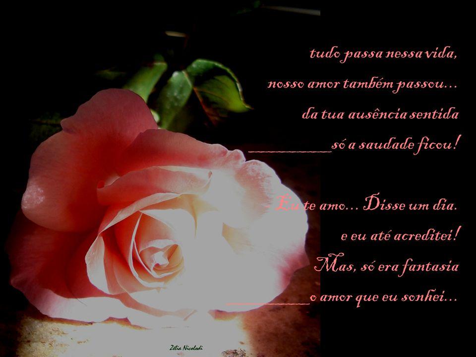 tudo passa nessa vida, nosso amor também passou... da tua ausência sentida. ________só a saudade ficou!