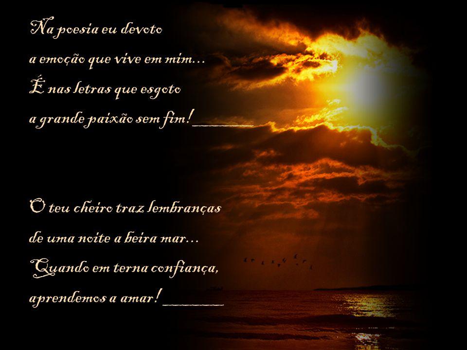 Na poesia eu devoto a emoção que vive em mim... É nas letras que esgoto. a grande paixão sem fim!______.