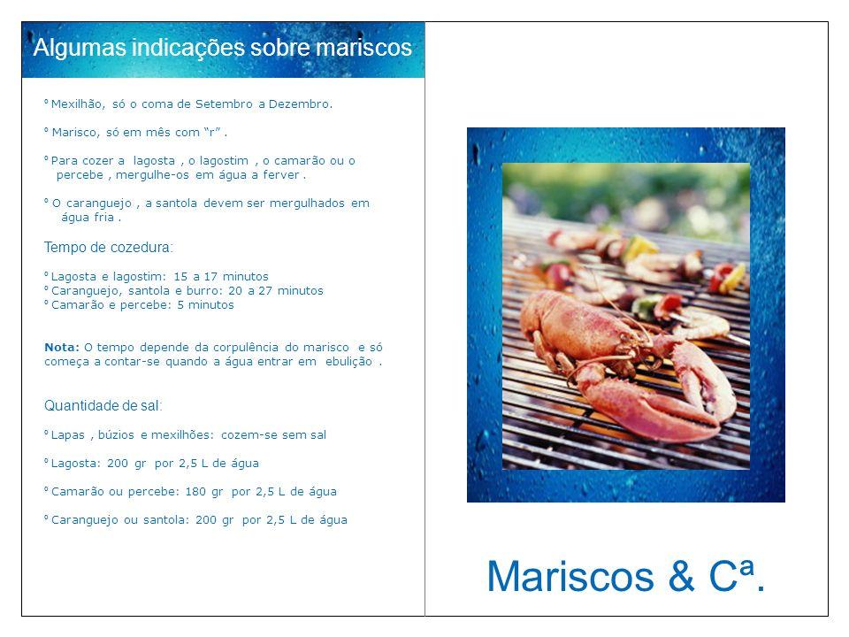 Algumas indicações sobre mariscos