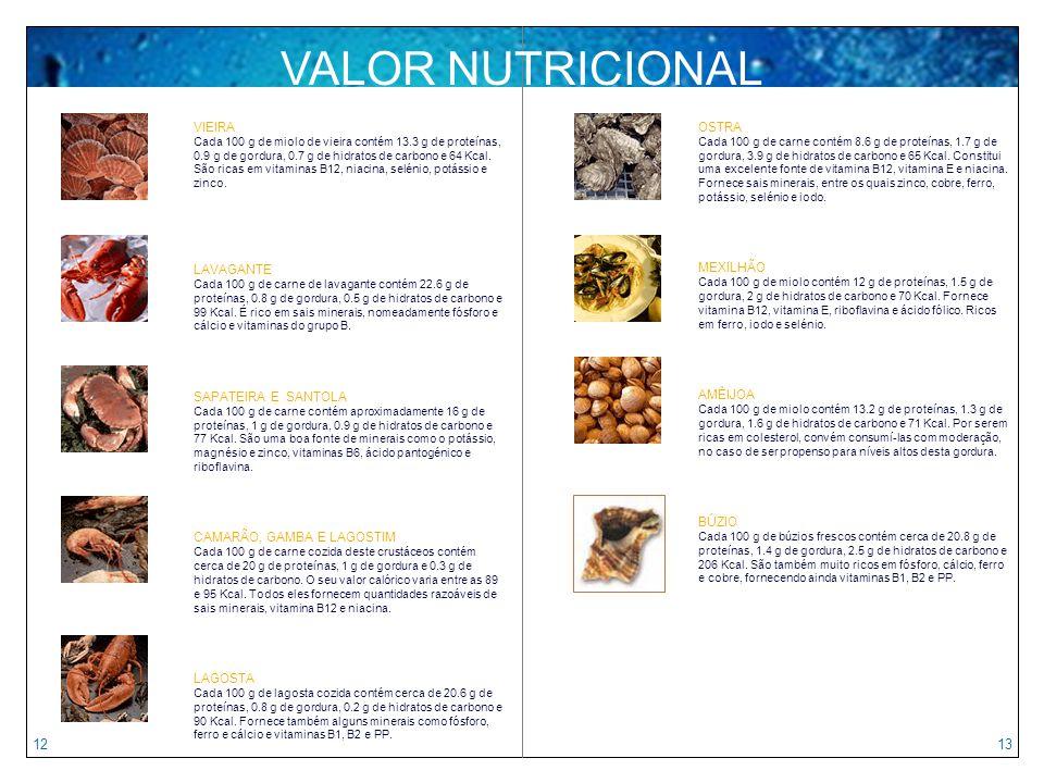 VALOR NUTRICIONAL 12 13 VIEIRA LAVAGANTE SAPATEIRA E SANTOLA