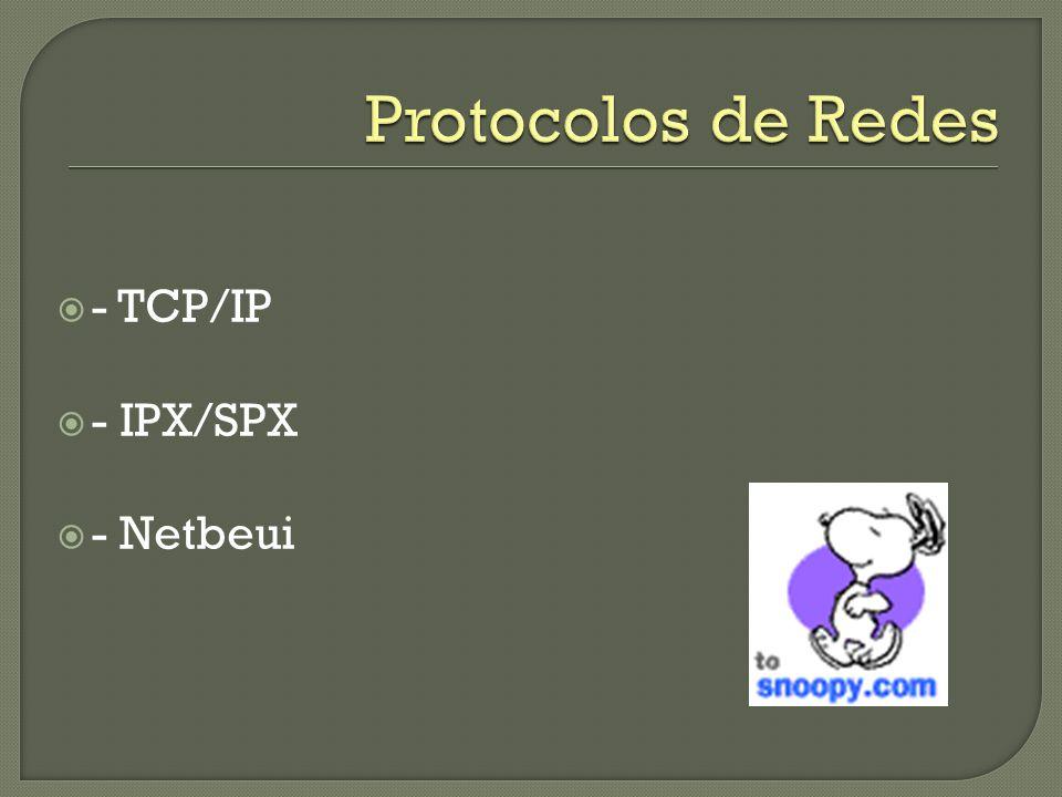 Protocolos de Redes - TCP/IP - IPX/SPX - Netbeui